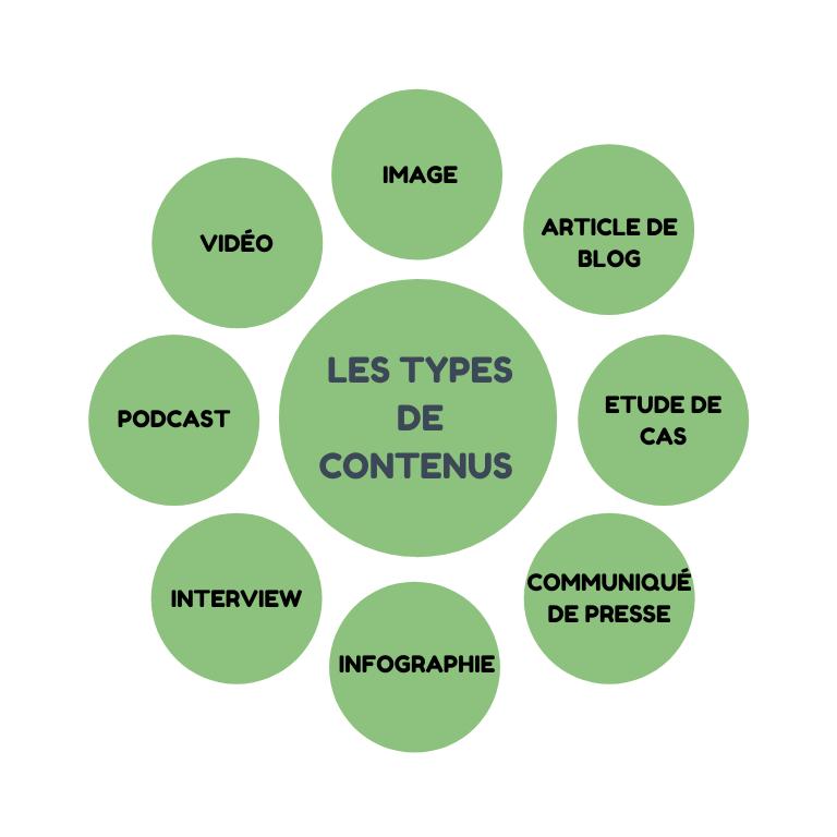 Principaux types de contenus :  - image - vidéo - podcast - interview - infographie - article de blog - étude de cas - communiqué de presse